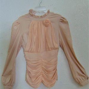 Tops - Vng Peach Silk Edwardian Style Blouse Sz Small